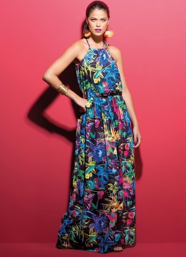 Vestido Longo Floral com Leve Transparência