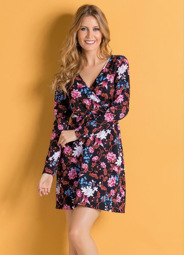 Vestido Floral com Decote Transpassado
