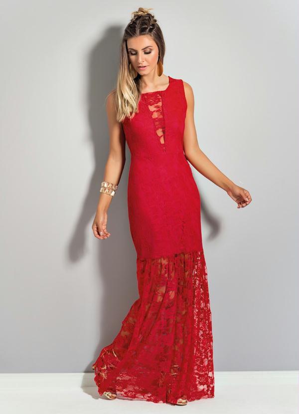 Vestido Longo de Renda Vermelho