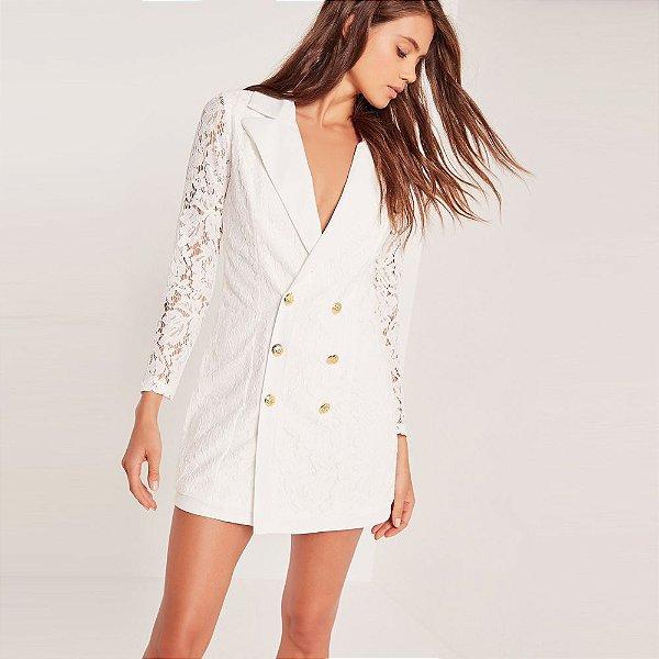 Vestido Rendado Off White