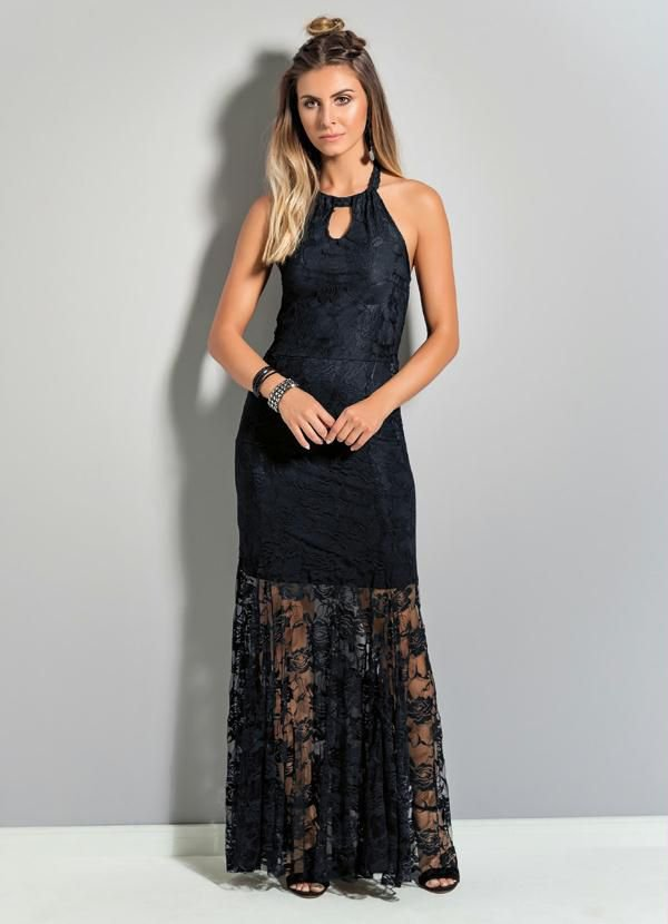 Vestido Longo de Renda Preto