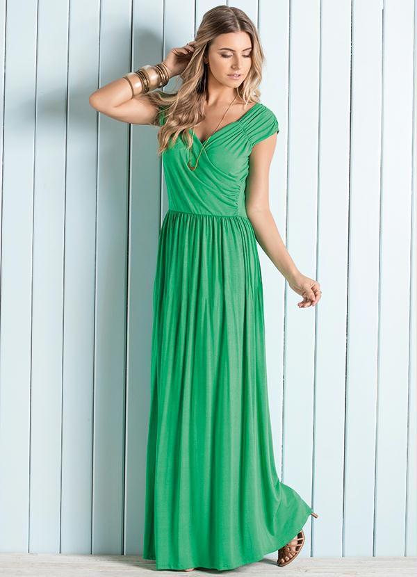 Vestido Longo Decote V Transpassado Verde