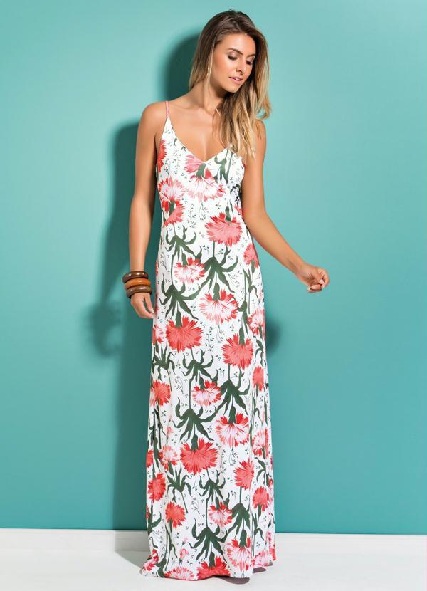 Vestido Longo Floral Decote V