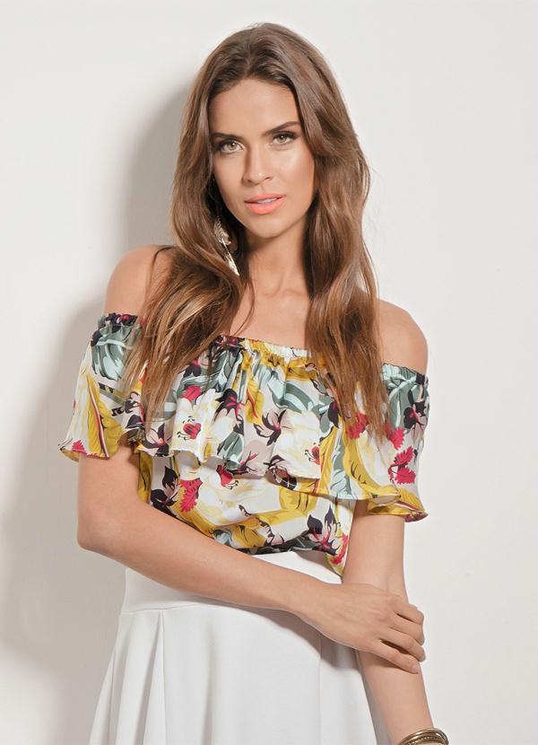 Blusa de Cetim Floral com Babado