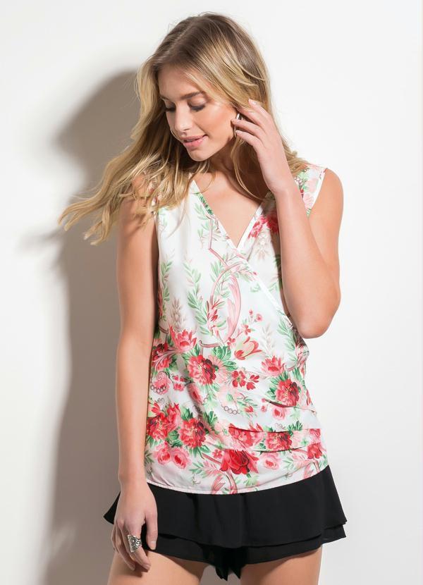 Blusa Floral Decote V Transpassado