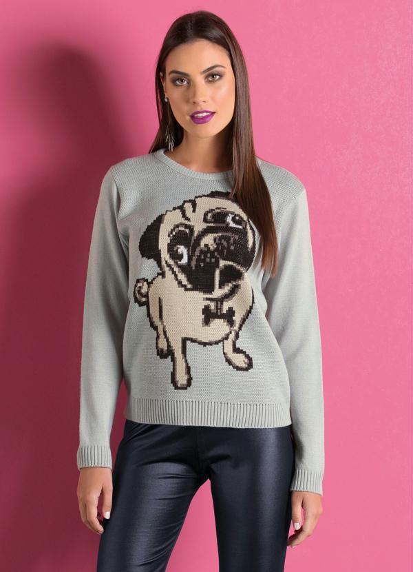 Suéter de Tricô Cinza com Estampa Frontal Pug