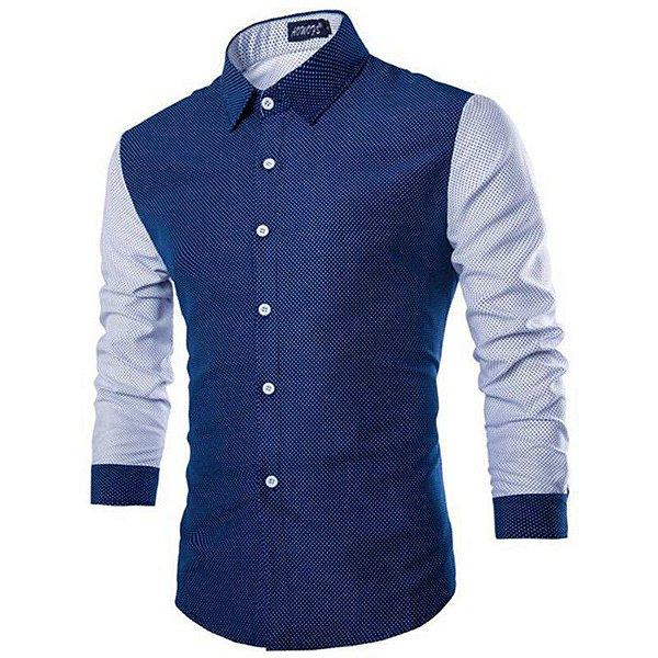 Camisa Masculina Poá Azul