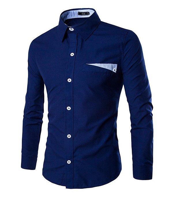 Camisa Masculina Lapela Azul Escuro