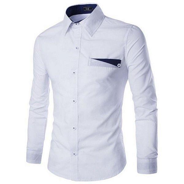 Camisa Masculina Lapela Branca