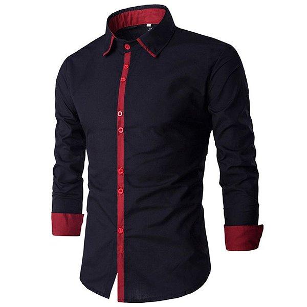 Camisa Masculina Minimal Preto com Vermelho