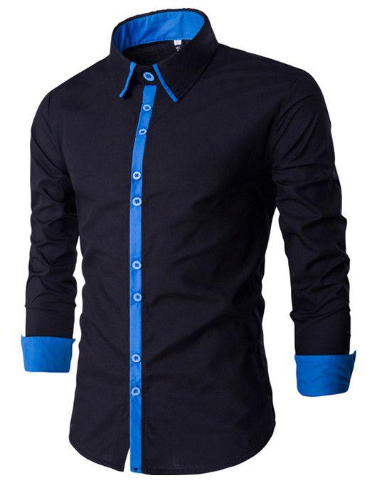 Camisa Masculina Minimal Preto com Azul