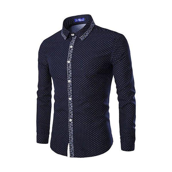 Camisa Masculina Detalhe Estampado Azul