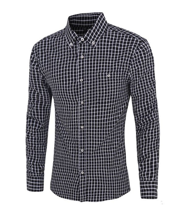 Camisa Masculina Xadrez Preta
