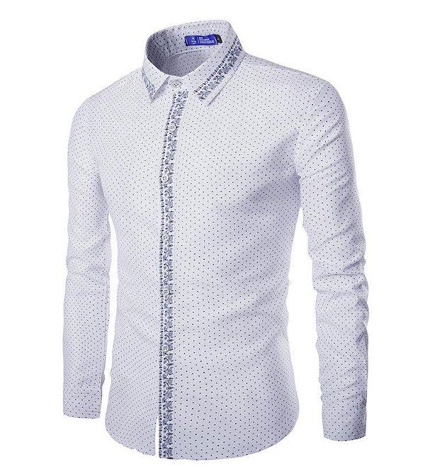 Camisa Masculina Detalhe Estampado Branca