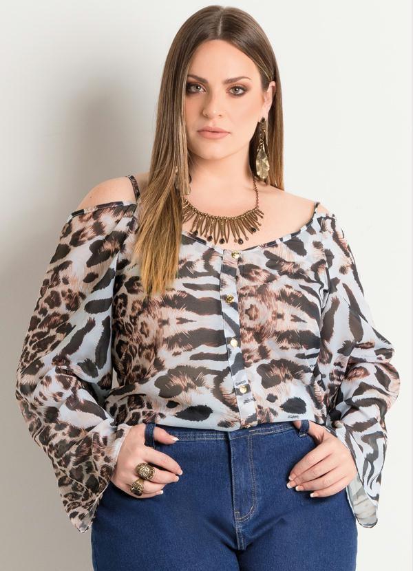 Blusa Ciganinha Animal Print Plus Size