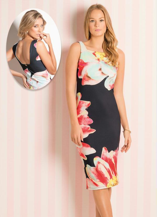 Vestido Tubinho Midi Floral Maxi