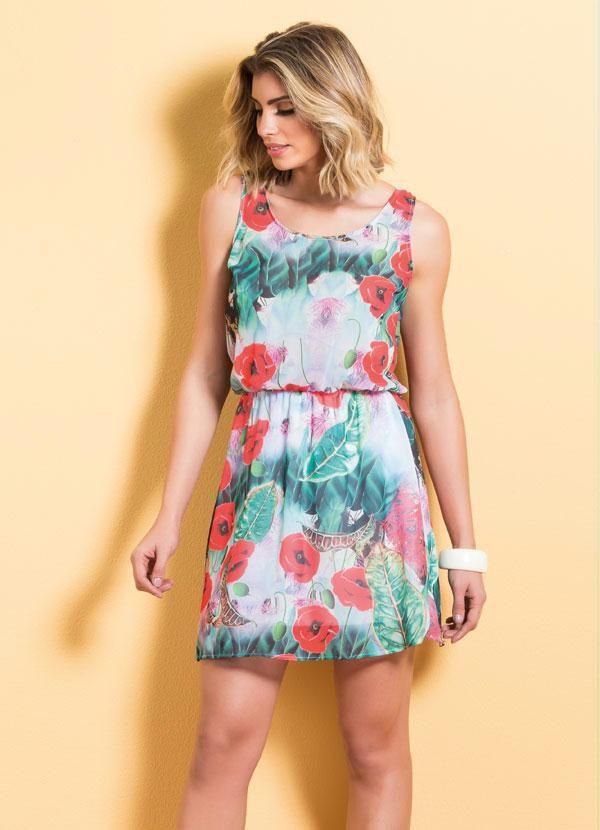 Vestido de Chiffon Estampa Tropical