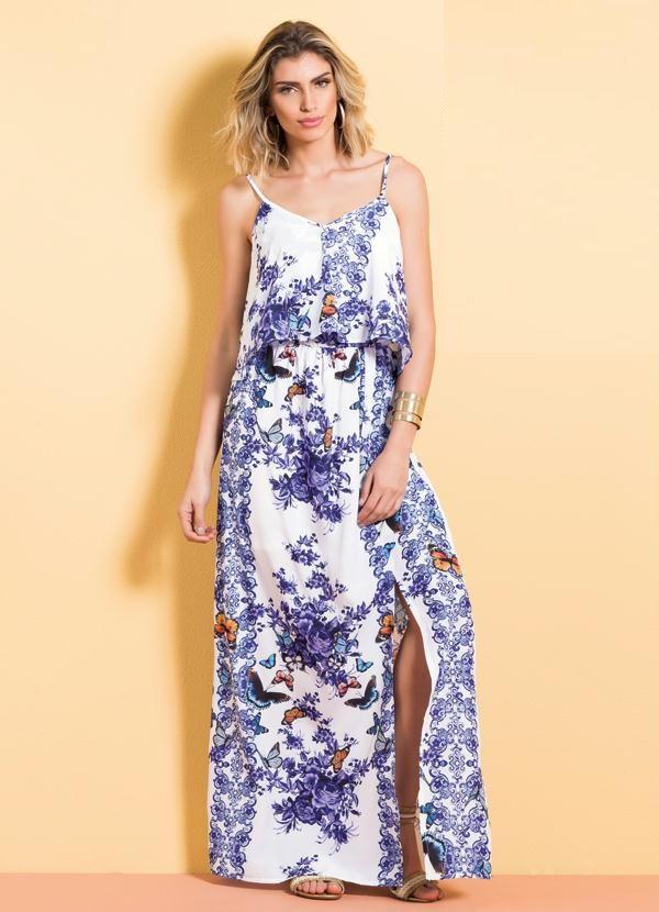Vestido Longo Cetim Mix Floral