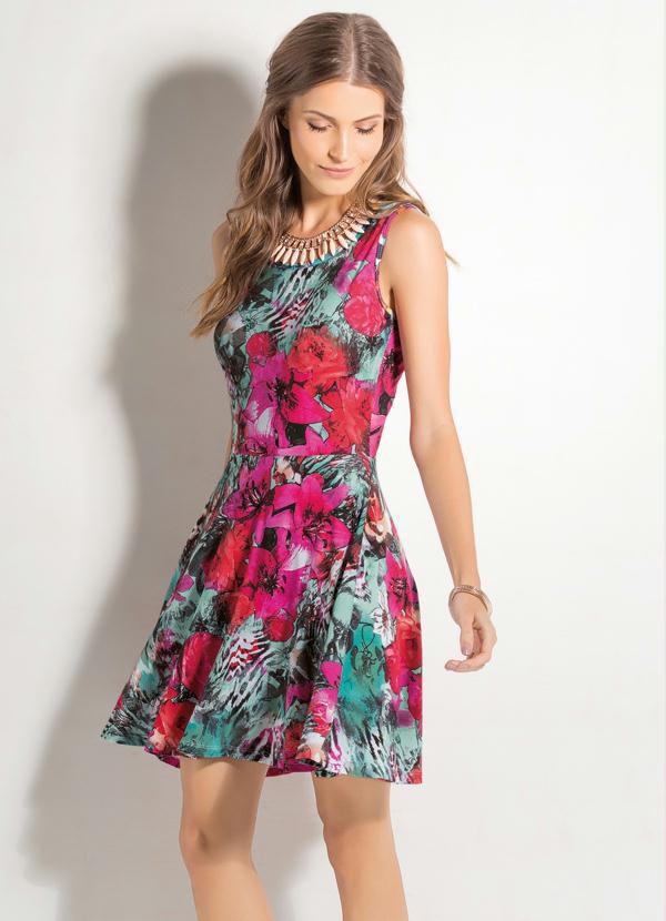 Vestido Godê sem Mangas Floral