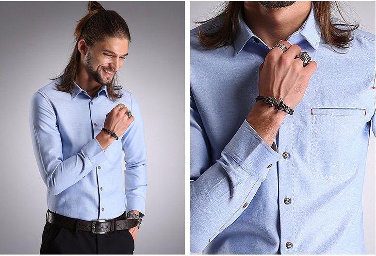 Camisa Masculina Details Azul Claro