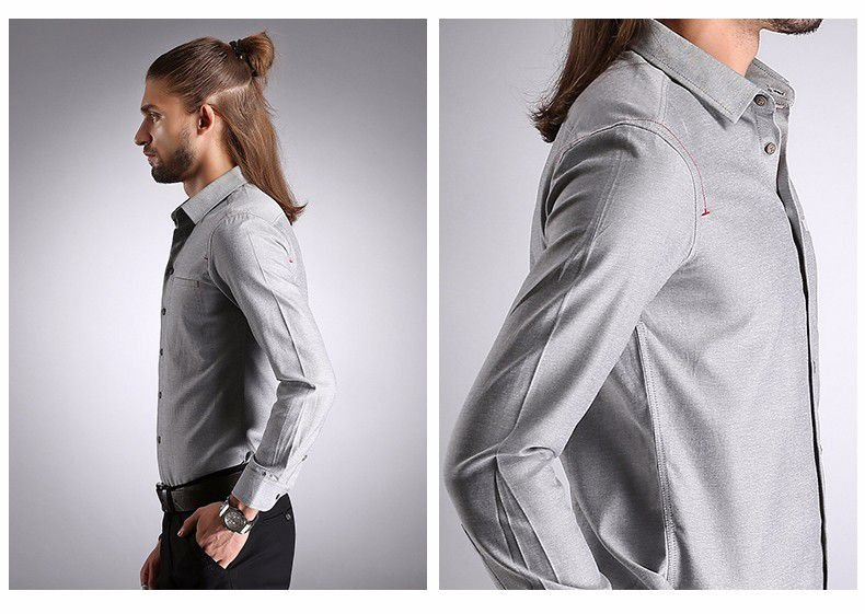 Camisa Masculina Details Cinza