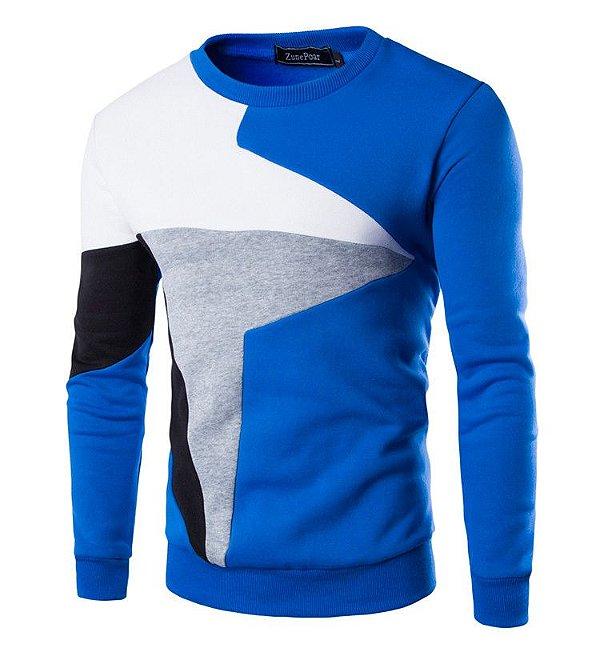 Suéter Slim Fit Geométrico - Azul