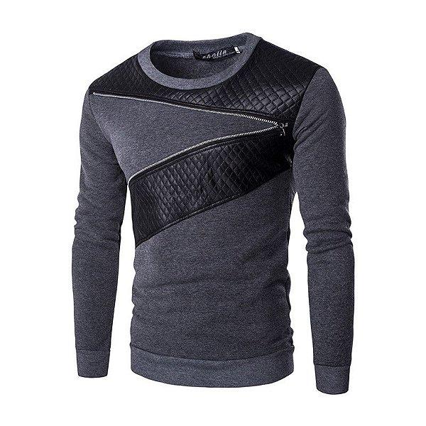 Suéter Masculino com Detalhe de Couro - Cinza