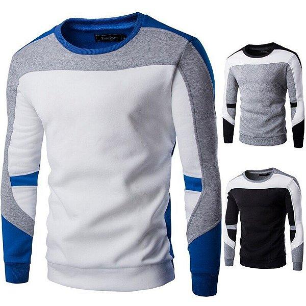 Suéter Masculino Recortes - 3 cores