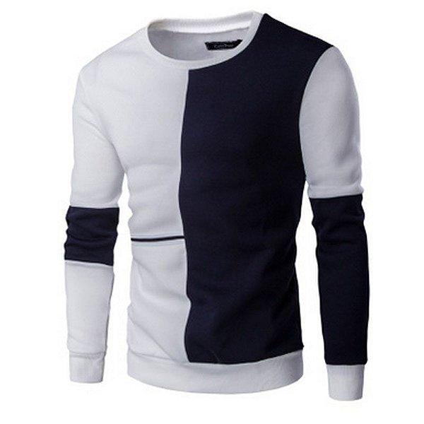 Suéter Masculino Duo - Branco e Marinho