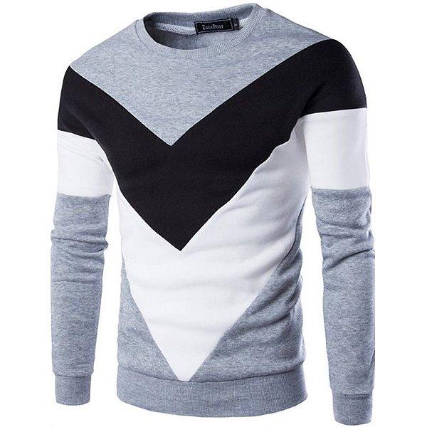 Suéter Masculino Detalhe Triangular - Cinza