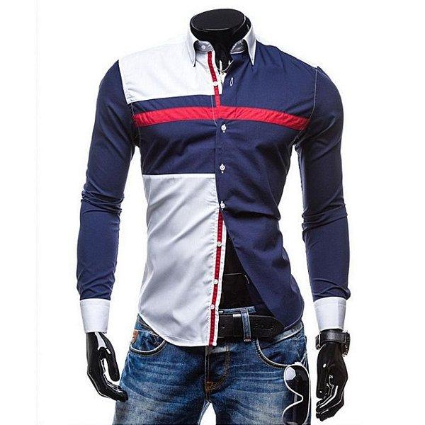 Camisa Masculina Duo Geométrica - Branco e Azul