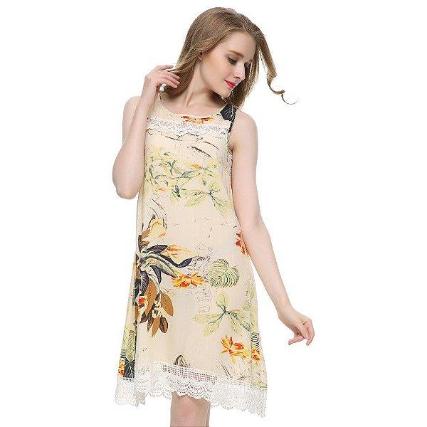 Vestido Floral com Renda