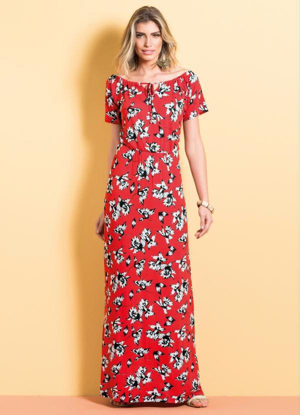 Vestido Longo Floral Decote Amplo