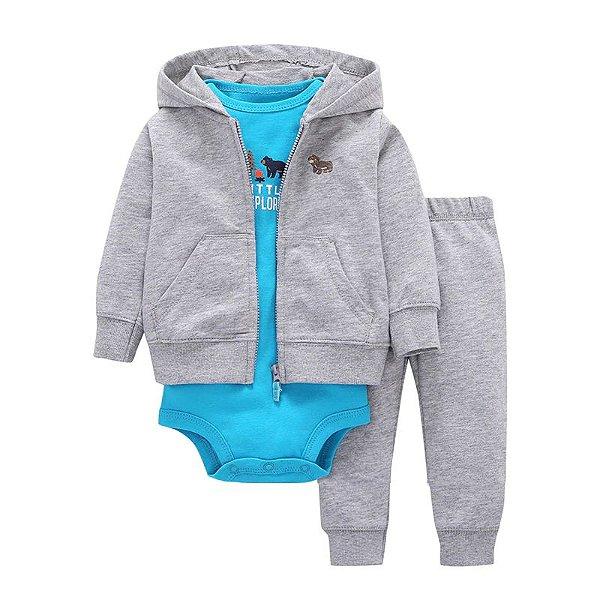 Conjunto Bodysuit Cinza e Azul - 3 peças