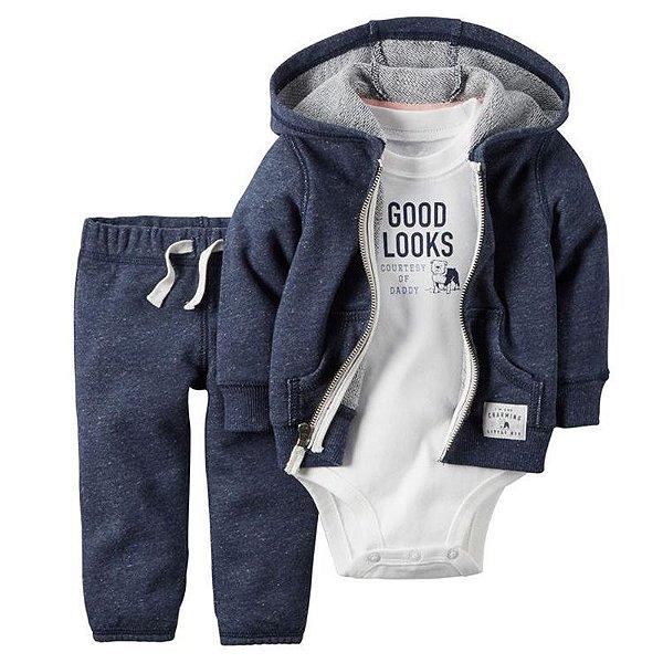 Conjunto Bodysuit Azul e Branco - 3 peças