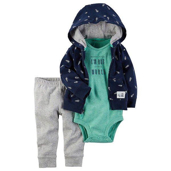 Conjunto Bodysuit Azul e Verde - 3 peças