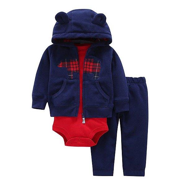 Conjunto Bodysuit Azul e Vermelho - 3 peças
