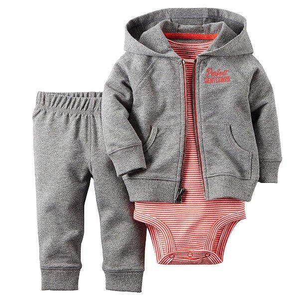 Conjunto Bodysuit Cinza e Vermelho Listrado - 3 peças