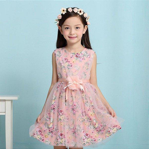 Vestido Floral com Tule - 2 cores