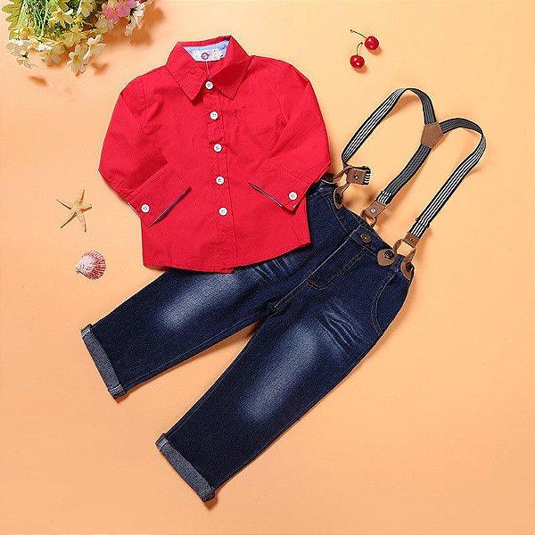 Conjunto Jeans + Camisa Vermelha