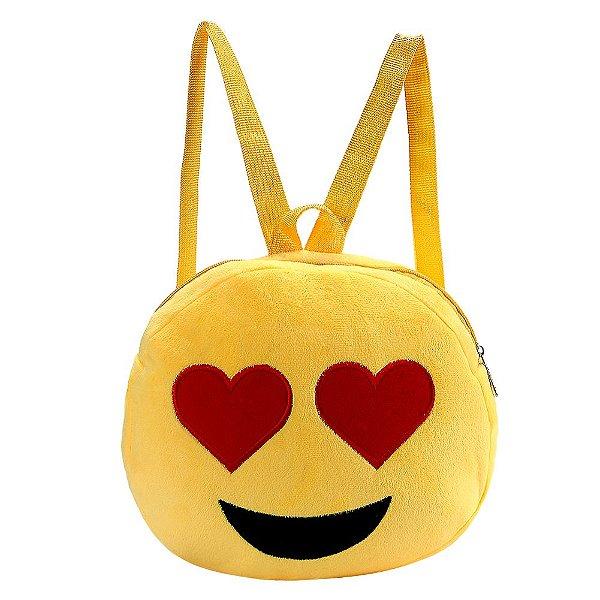 Mochila Emoji Corações nos Olhos