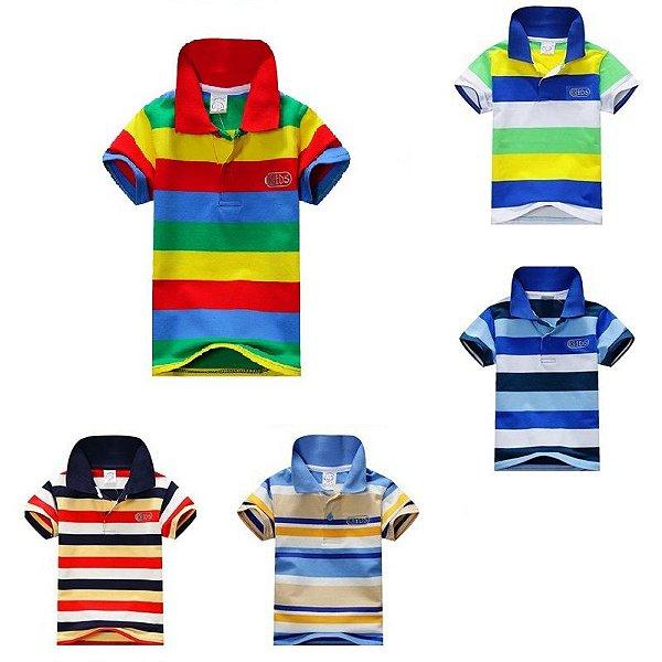 Camiseta Gola Polo Listrada - 5 cores