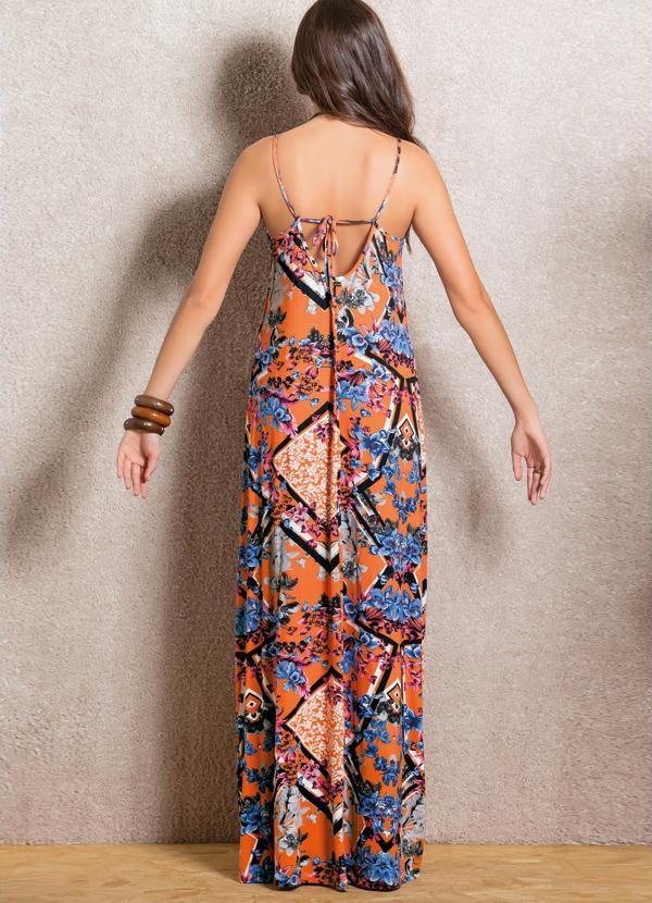 Vestido Longo Floral Mix