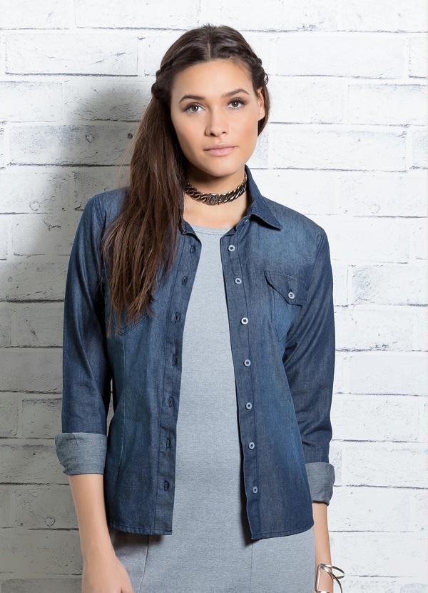 Camisa Jeans Azul com Bolsos