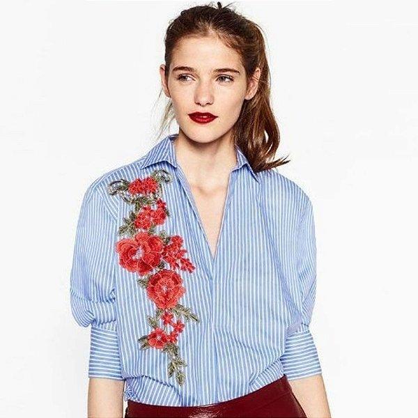 Camisa Longa com Flores