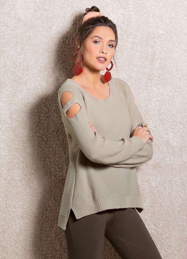 Suéter de Tricô Bege com Vazados