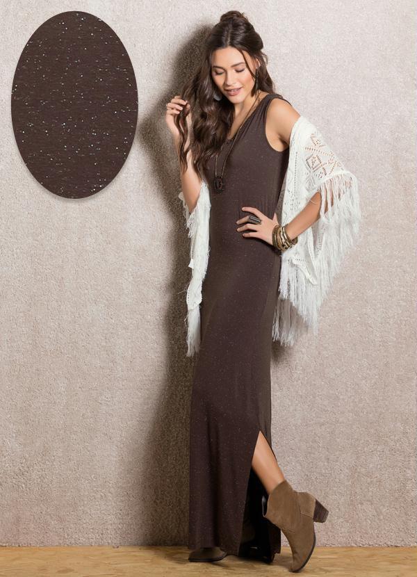 Vestido Longo Marrom com Fendas