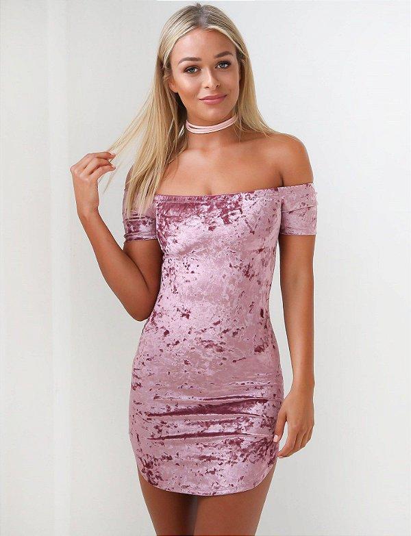 Vestido Rosa de Veludo