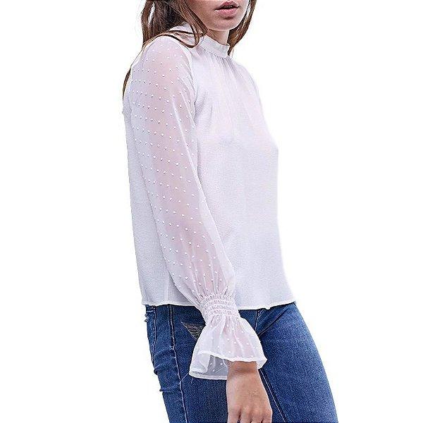 Blusa com Manga Transparente - 2 cores