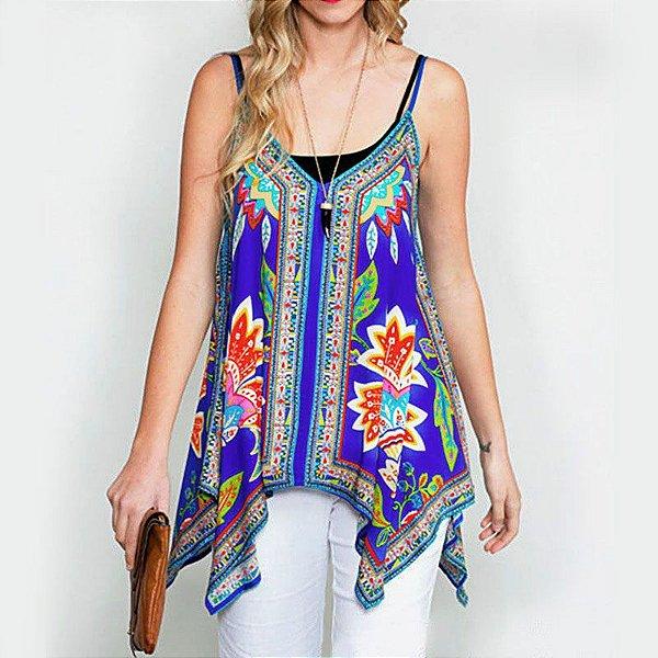 Blusa Floral Assimétrica